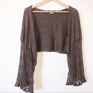BCBG Max Gold Metalic Crochet Knit Shawl One Size